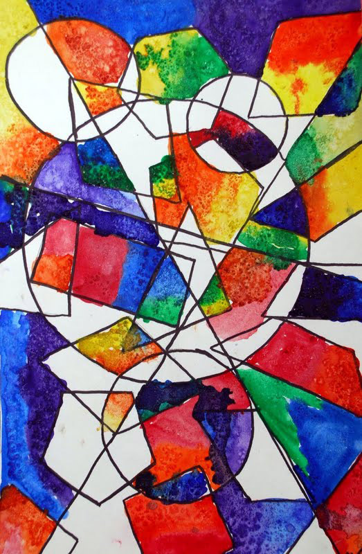 Line And Shape Art : The smartteacher resource overlapping shape paintings