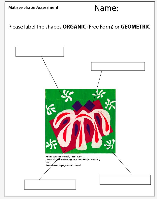 The smARTteacher Resource: Matisse Shape Assessment