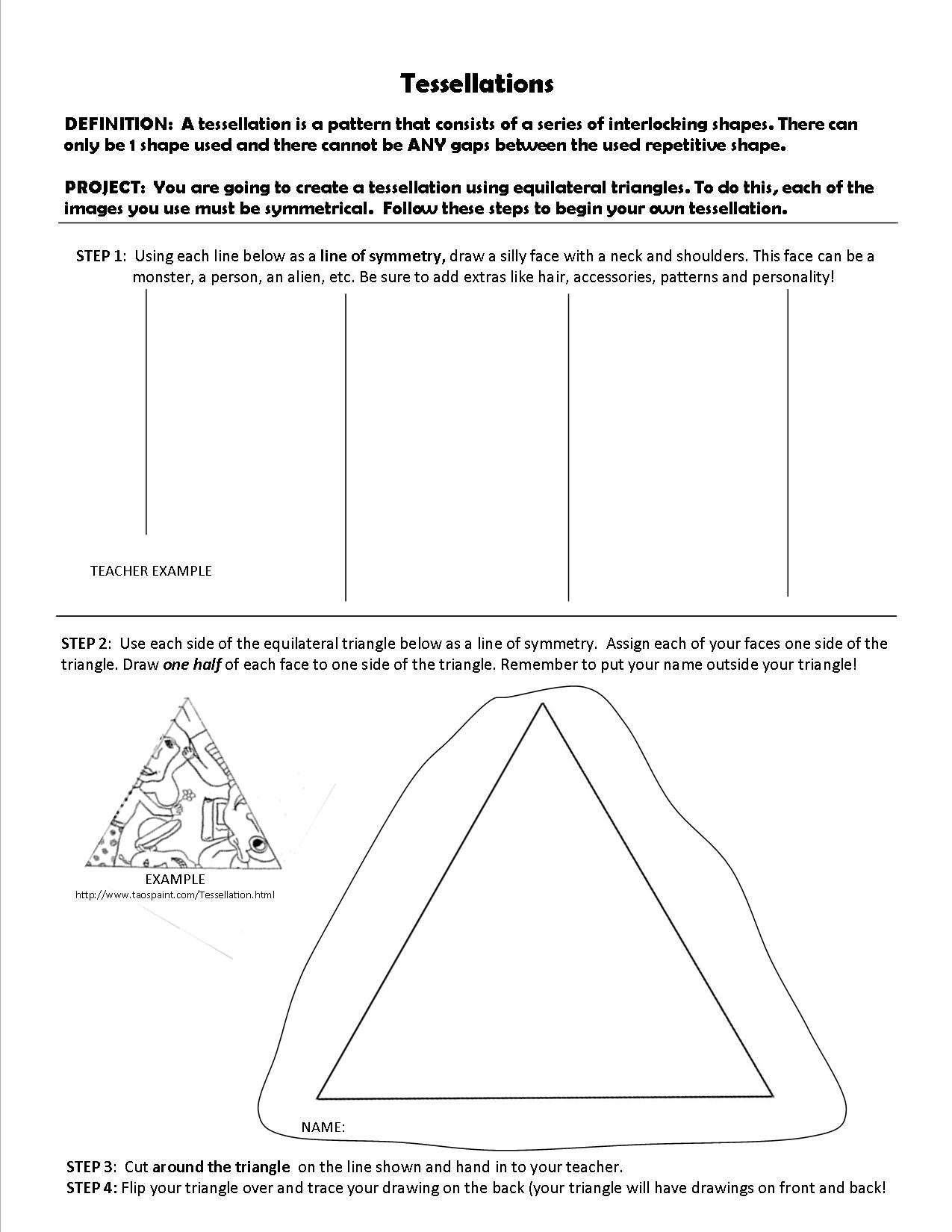 The smARTteacher Resource Tessellations – Tessellations Worksheet