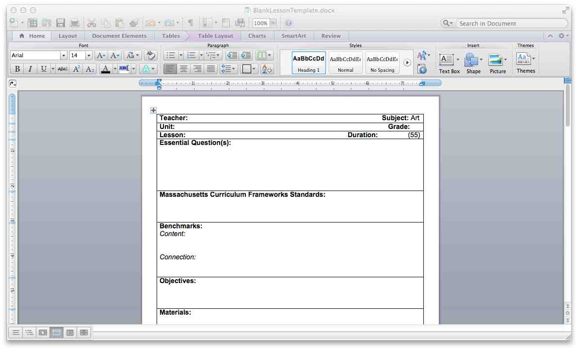 The Smartteacher Resource Blank Lesson Plan Template