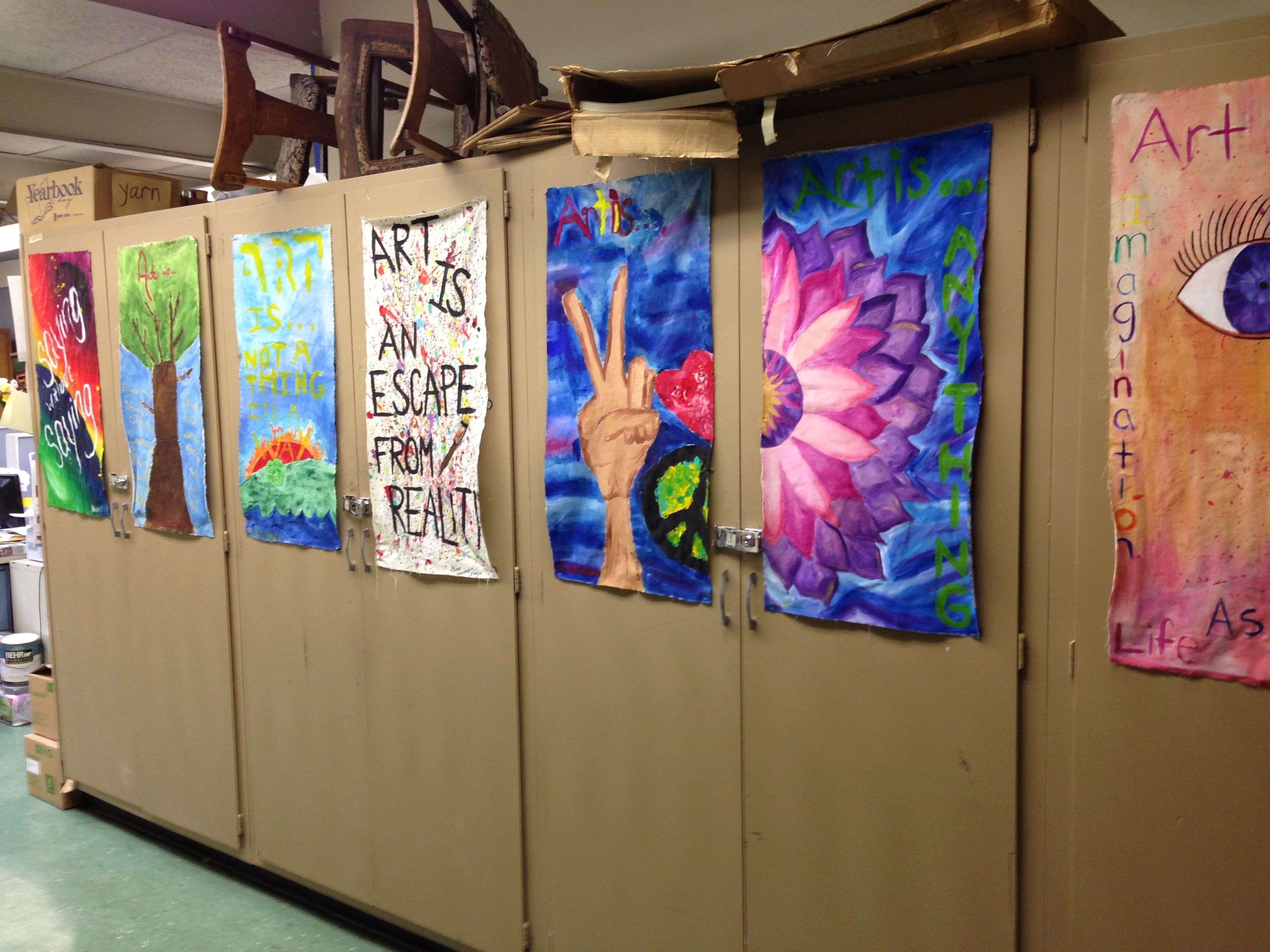 As soon as you walk in my classroom door you are greeted by colorful panels on my supply closet doors. The artwork was done on muslin and stapled to the ... & The smARTteacher Resource: Entrance art work