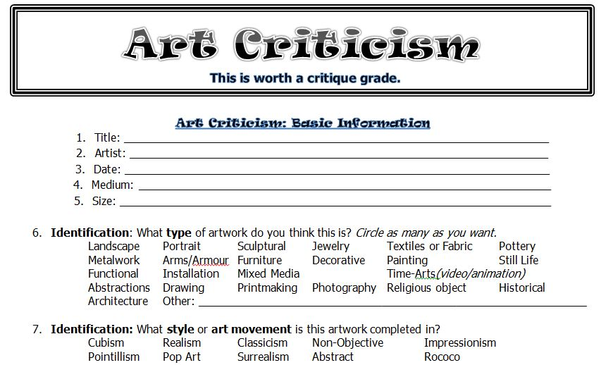 The smARTteacher Resource Art Criticism Worksheet – Art Critique Worksheet