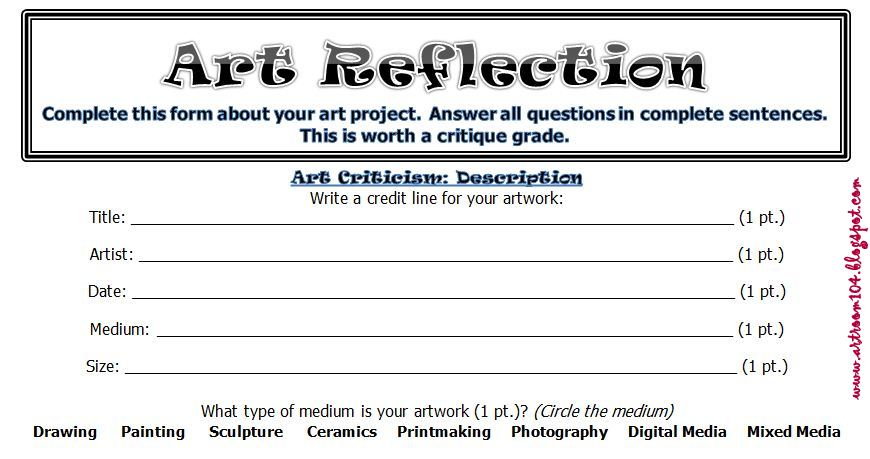 The smARTteacher Resource Art Criticism Personal Artwork – Art Analysis Worksheet