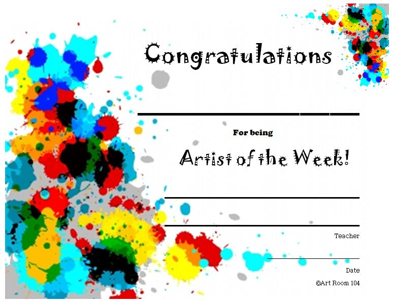 student of the week certificate template free - the smartteacher resource artist of the week