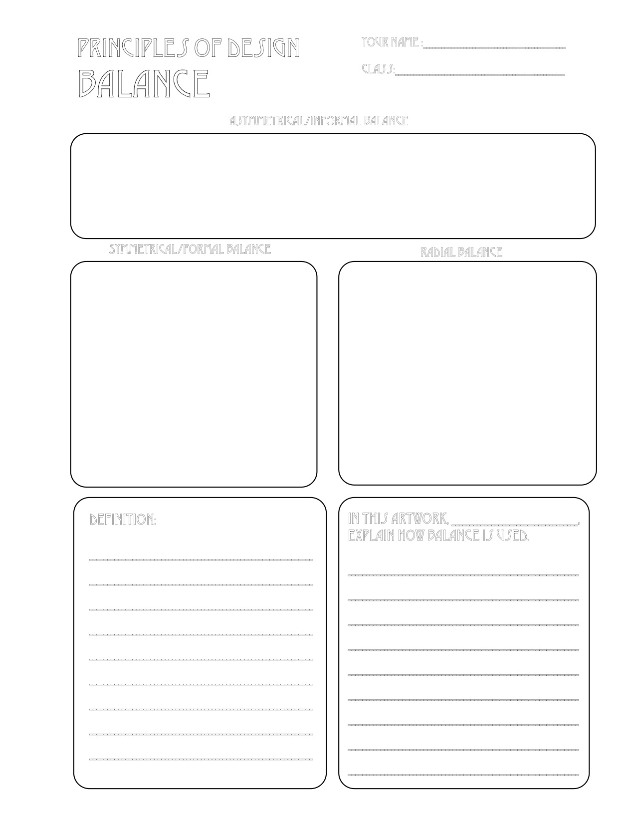 worksheet Elements And Principles Of Art Worksheet the smartteacher resource balance handout worksheet for principles of design balance