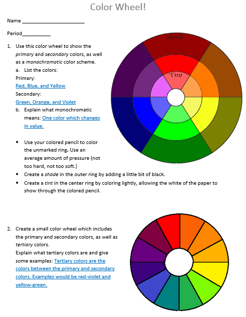 This is a Color Wheel/Theory worksheet with a corresponding PowerPoint  presentation