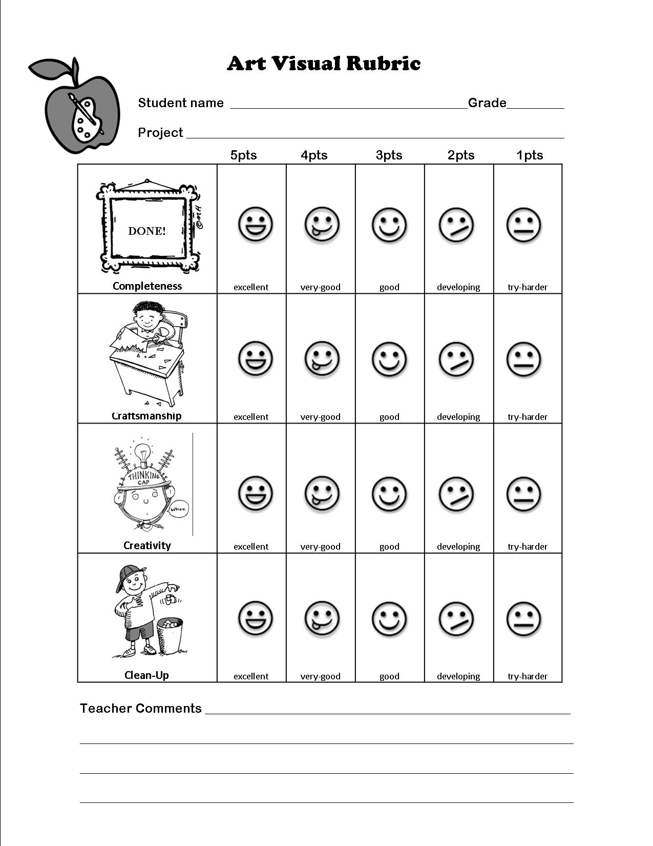 Line Art Rubric Grade : The smartteacher resource art assessment for non readers